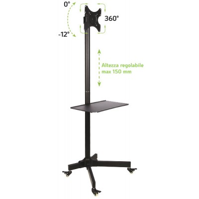 """Trolley Floor Stand LCD/LED/Plasma TV Stand 19""""-37"""" - Techly - ICA-TR20-2"""
