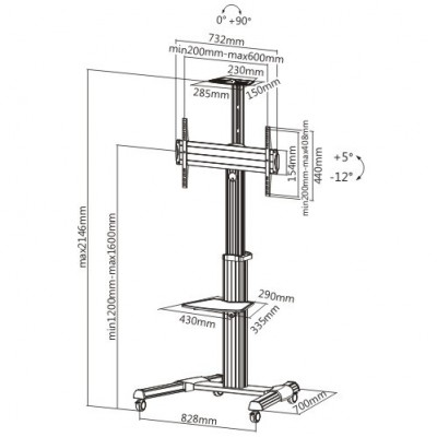 """Floor Support Trolley for LCD / LED / Plasma 37-70"""" with Shelf  - Techly - ICA-TR15-2"""
