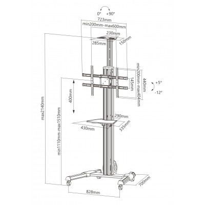 Interactive Counterbalance Aluminum TV Cart - Techly - ICA-TR25-2