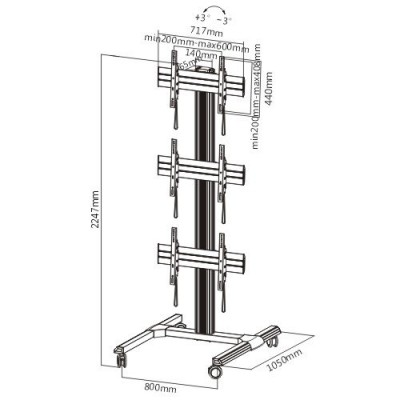 "Floor support for 3 LCD/LED 45-55"" TV - Techly - ICA-TR 346W-2"