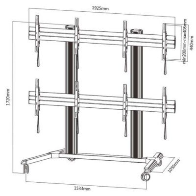 "Floor support for 4 LCD/LED 45-55"" TV - Techly - ICA-TR 446W-2"