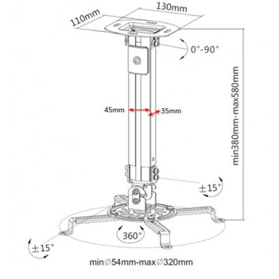 Projector Ceiling Support Extension 380-580 mm Silver - Techly - ICA-PM 18S-2