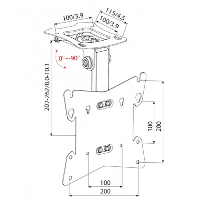 """Fold-up TV Ceiling Mount for TV LED LCD 17-37"""" - Techly - ICA-CPLB 08-6"""