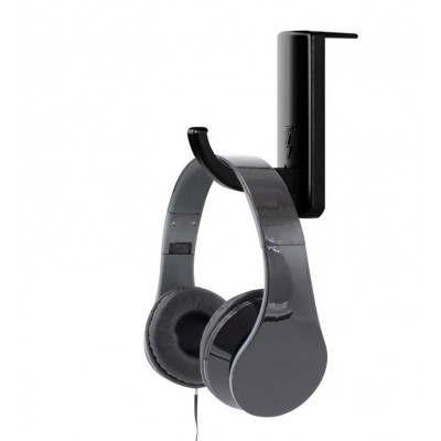 Universal Adhesive Headphone Holder for Monitor and Desk Black (2 Pcs) - Techly - ICC SH-HANGTY-2