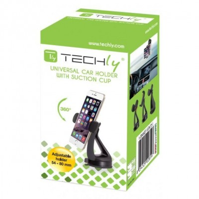 "Car Holder for iPhone and Smartphone 3.0"" - 6.0"" with Suction - Techly - I-SMART-VENT51-1"