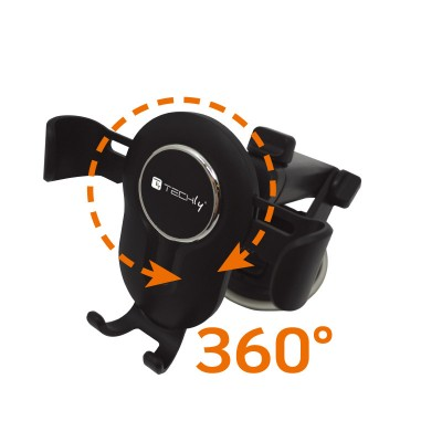 In-car smartphone holder with suction cup and gravity system - Techly - I-SMART-VENT-GRAV-3