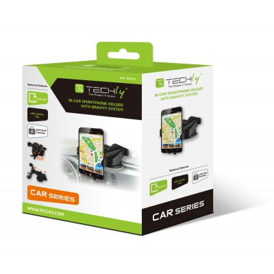 In-car smartphone holder with suction cup and gravity system - Techly - I-SMART-VENT-GRAV-1