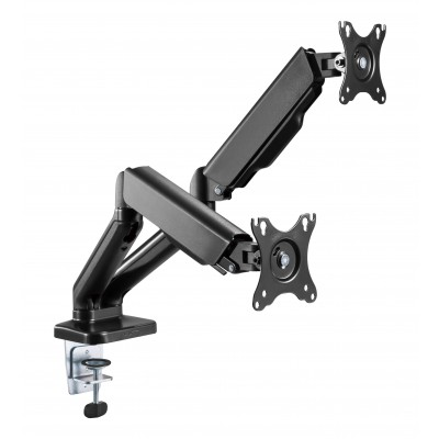 """Double Monitor Desk Stand 17-32"""" with Gas Spring Black - Techly - ICA-LCD 462B-1"""