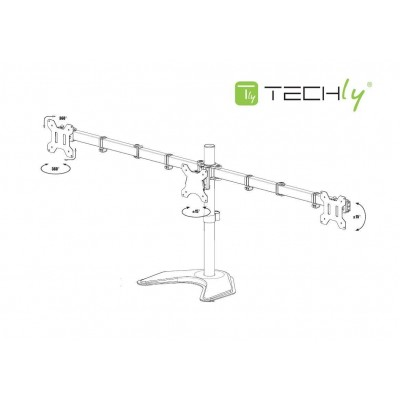 "Desk monitor arm for 3 Monitor 13-24"" with base - Techly - ICA-LCD 2530-2"