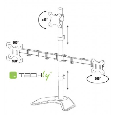 "Desk monitor arm for 3 Monitor 13-27"" with base - Techly - ICA-LCD 2533-1"