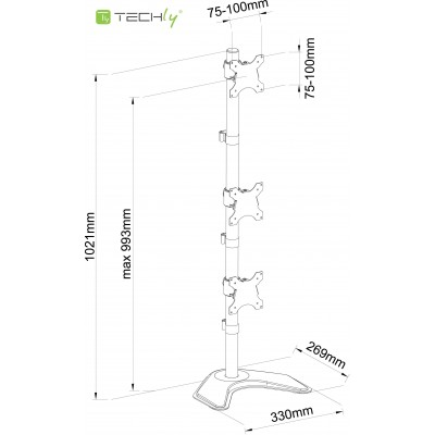 """Desk monitor arm for 3 Monitor 13-27"""" with base - Techly - ICA-LCD 2533V-1"""