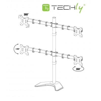 """Desk monitor arm for 4 Monitor 13-27"""" with base - Techly - ICA-LCD 2540-2"""