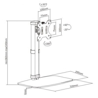 Freestanding Monitor Desk Stand - Techly - ICA-LCD 260-8