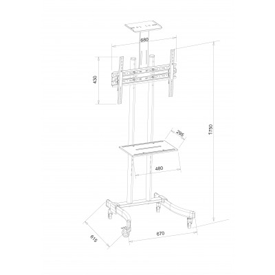 "Mobile TV Stand/Trolley for LED/LCD 32-70"" with shelf  - Techly - ICA-TR23-2"