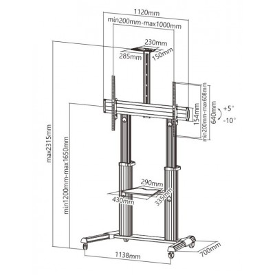 Telescopic Height Adjustable Ultra-large Display TV Cart - Techly - ICA-TR24-2