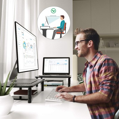 Adjustable Ergonomic Stand with 3 Height for Monitor in Black Metal - Techly - ICA-MS 481-4