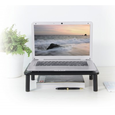 Adjustable Ergonomic Stand with 3 Height for Monitor in Black Metal - Techly - ICA-MS 481-7