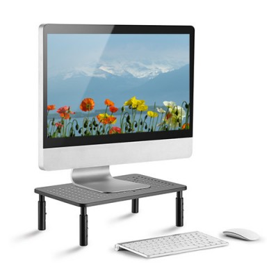 Adjustable Ergonomic Stand with 3 Height for Monitor in Black Metal - Techly - ICA-MS 481-1