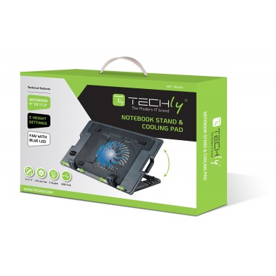 """Notebook stand and cooling pad for Notebook up to 17.3"""" - Techly - ICOOL-CP12TY-1"""