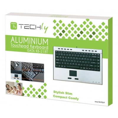 Slim Mini Keyboard with Touchpad Aluminium - Techly - IDATA KB-218T-1