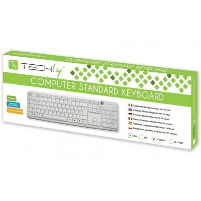 Keyboard Standard 105 Keys PS2, White - Techly - IDATA 955-WHITE-1