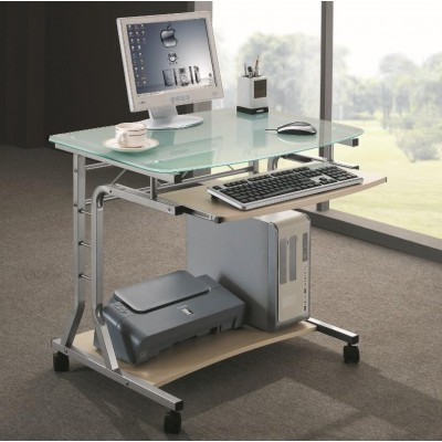Compact Desk for PC Metal & Glass with Wheels - Techly - ICA-TB 3791A-3