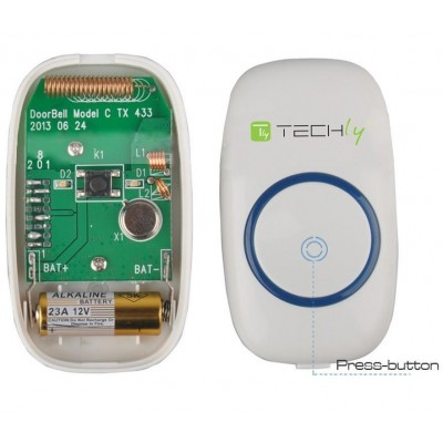Wireless Doorbell with Remote Control up to 300 m - Techly - I-BELL-RING01-12