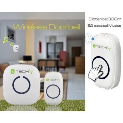 Wireless Doorbell with Remote Control up to 300 m - Techly - I-BELL-RING01-11