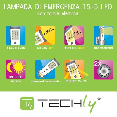 Emergency Lamp 15+5 LED Flashlight - Techly - I-LED EMGY15-3
