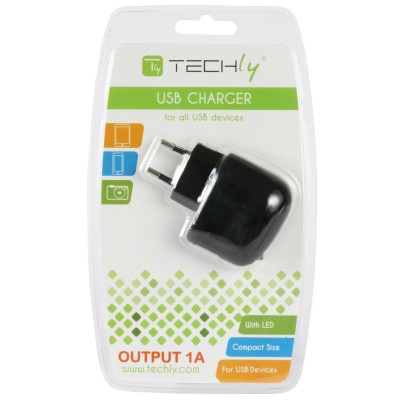 Transformer from Italian Network to USB 1 A Black - Techly - IPW-USB-1A-1