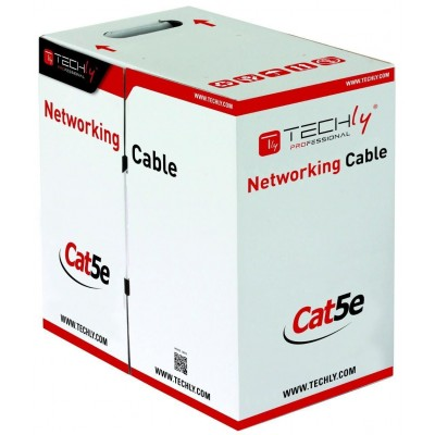 U/UTP Cable Cat.5E CCA 305m Roll Solid Grey - Techly Professional - ITP7-UTP-IC-CCA-1