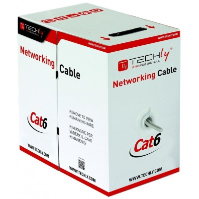 U/UTP Roll Copper Cable Cat.6 305m Solid Grey - Techly Professional - ITP-C6U-RI-1