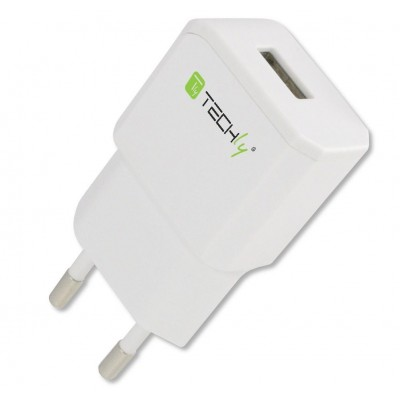 Italian Plug Adapter with 1 USB Port 5V / 2.1A White - Techly - IPW-USB-21EC-1
