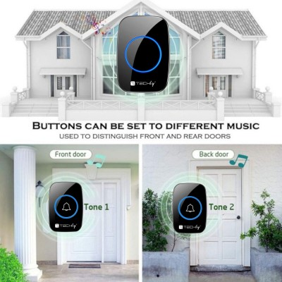 Remote Control for Wireless Doorbell up to 300m Additional Transmitter - Techly - I-BELL-RING04T-2