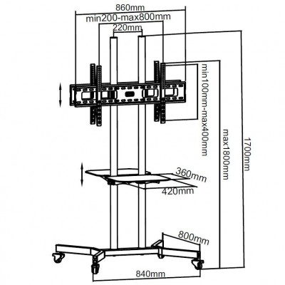 """Floor Support with 2 Shelves Trolley LCD / LED / Plasma 37-70"""" - Techly - ICA-TR7-1"""