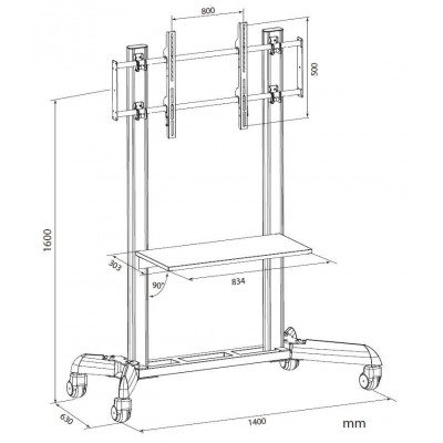 "Trolley Floor Support for LCD / LED / Plasma 32-70"" with Shelf - Techly - ICA-TR9-3"