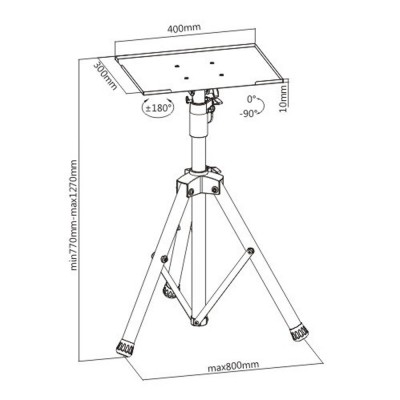 Tripod for Laptops and Projectors - Techly - ICA-TB TPM-8-23