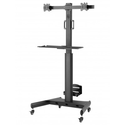 """Floor Trolley with Shelf and CPU Holder for 2 LCD/LED/Plasma TVs 13-32"""" - Techly - ICA-TR42-2"""