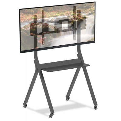 "Mobile Floor Trolley for LED TV 30-110"" with Shelf - Techly - ICA-TR44-2"