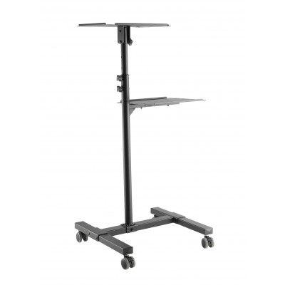 Universal Adjustable Trolley for Notebook Projector with Shelf Black - Techly - ICA-TB TPM-10-2