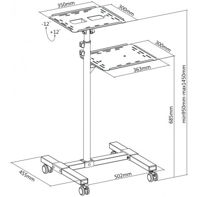 Universal Adjustable Trolley for Notebook Projector with Shelf Black - Techly - ICA-TB TPM-10-11