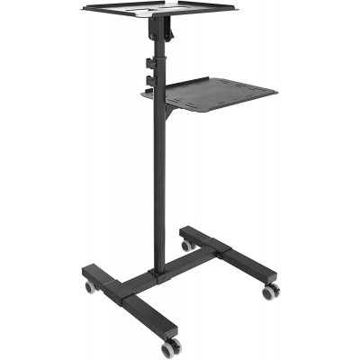 Universal Adjustable Trolley for Notebook Projector with Shelf Black - Techly - ICA-TB TPM-10-6