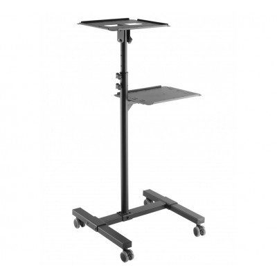 Universal Adjustable Trolley for Notebook Projector with Shelf Black - Techly - ICA-TB TPM-10-7