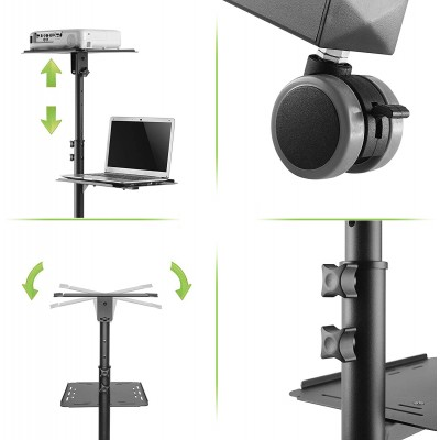 Universal Adjustable Trolley for Notebook Projector with Shelf Black - Techly - ICA-TB TPM-10-4