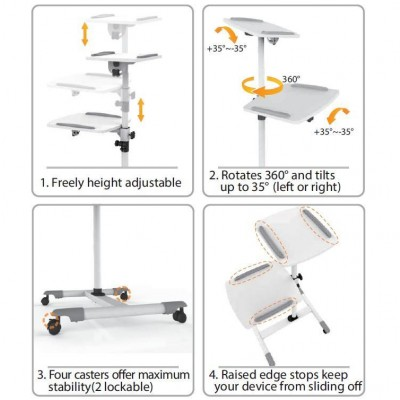 Universal Trolley for Notebook / Projector, White - Techly - ICA-TB TPM-6-2
