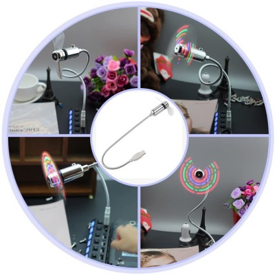 USB 2.0 Fan for Notebook with Coloured Message 5 LED - Techly - IUSB-FAN3-3
