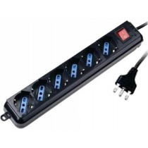 Power Strip with 6 sockets 10/16 A with Switch Black - Techly - IUPS-PCP-16BK