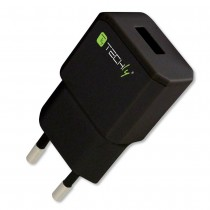 Italian Plug Adapter with 1 USB Port 5V / 2.1A Black - Techly - IPW-USB-21ECBK
