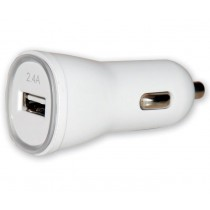 Charger 1p USB 5V 2.4Ah for Car Cigarette Lighter Socket White - Techly - IUSB2-CAR2-2A1P