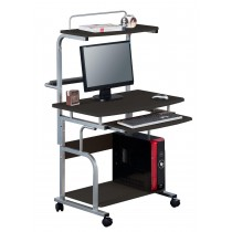 Compact Multi-Function Computer Desk, Glossy Black - Techly - ICA-TB 7800BK